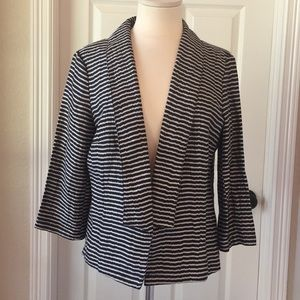 Ann Taylor Loft Black & Gray Stripe Jacket Sz 10